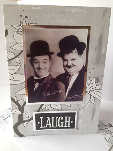 LAUREL AND HARDY birthday LAUGH card famous Double comedy act Hollywood era memories Vintage Grey white handmade thanks life celebrations card Stan Ol…