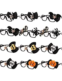 Gejoy 12 Packs Halloween Glasses Costume Frames 3D Novelty Eyeglasses Halloween Party Props Funny Glasses for Adults Women Kids Photos Photography One Size Fit Most People (Style D)