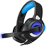 Xbox One Headset, Gaming Headset for PS4, PC, Nintendo Switch, Over-Ear Surround Stereo Noise Canceling Headset with Microphone, LED Lights, Volume Control system, Advanced Protein Memory Cotton