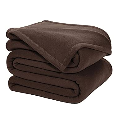 DOZZZ King Polar-Fleece Thermal Blanket BROWN (108 by 90 Inches) - Extra Soft Brush Fabric, Super Warm Bed Blanket, Lightweight Couch Throw Blanket, Easy Care, Machine Washable Blanket