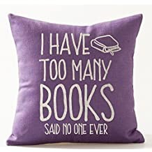 "Book Lover Reading Book Club I Have Too Many Books Purple Background Cotton Linen Decorative Throw Pillow Case Cushion Cover Square 18 ""X18 """