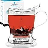 GROSCHE Aberdeen Perfect Tea Maker Set with Coaster, Tea Steeper, Teapot, Tea Infuser, 17.7 oz. 525 ml, Easy Clean Steeper, BPA-Free, NO Drips!