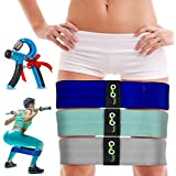 HIP Resistance Bands for Legs and Butt(Loop- Circle)Booty Building Fitness and Exercise Gear + HAND GRIP |Resistance Bands for exercise Muscle,Stretching Squats,Yoga,Pilates12''GREY+15''GREEN+17''BLUE