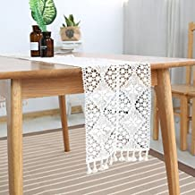 Elegant Lace Table Runner with Tassels Retro Macrame Cotton Table Runners Beige Placemat for Wedding Reception, Boho Party Decoration ZQ02 (9.5 x 87 inch)