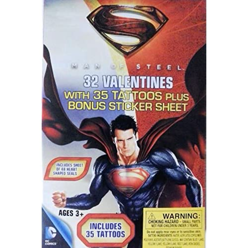 Superman Man of Steel 32 Valentines Cards with Tattoos Plus Bonus Sticker Sheet Sales