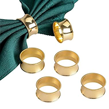Derker Set of 6 Beaded Round Napkin Rings for for Wedding, Party, Holiday, Dinner (Gold)