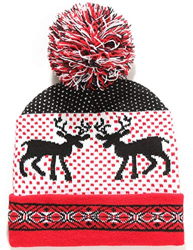 SSLR Big Kids Funny Xmas Holiday Knit Cuffed Ugly Christmas Beanie Hat (One Size, Red White Black)