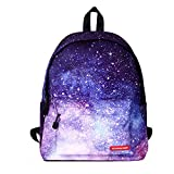 Galaxy Backpack,elecfan Canvas College Bookbag,Outdoor Shoulder Daypack,Cute School Bags, Fashion Casual Travel Bags for Women Men Teen Boys Girls College Students, Purple