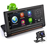 "Car DVR Dashcam Backup Camera - Built in Android 7"" Display GPS Touchscreen Android, Navigation Front Rear Camera - Wi-Fi Bluetooth Wireless FM Radio Rechargeable Battery - Pyle"