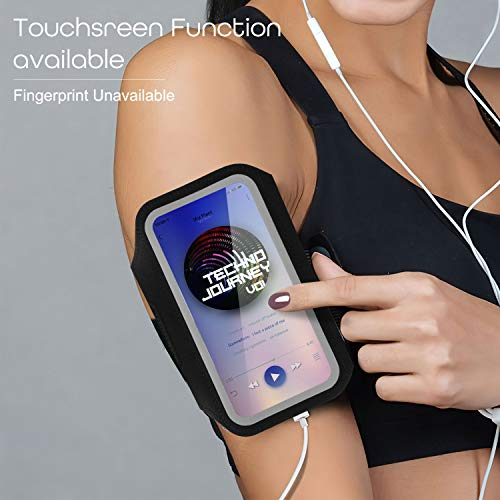 Tsuinz Cell Phone Armband, Sport Running Exercise Gym Case with Airpods Bag,Key Holder & Card Slot Water Resistant Armband Case for iPhone 12 Pro,11 Pro,X,XR,8 Plus, Galaxy S21 A10e,S10 (Black 7.1'')