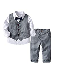 Milkiwai Little Baby Boys Suit Formal Wear Three Pieces White Shirt, Vest, and Pants