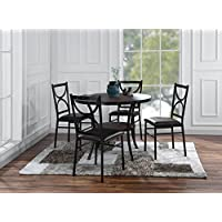 Sofamania 5 Piece Round Table with 4 Matching Chairs, Kitchen Dining Set, Brown