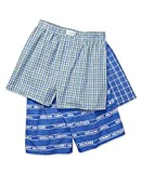 Tommy Hilfiger Men's Underwear Multipack Cotton Classics Woven Boxer, Turkish Sea Logo Plaid/Turkish Sea Shady Glade Plaid/Turkish Sea Plaid, XL