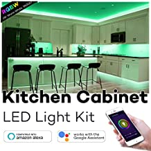 Kitchen Cabinet Lighting, Megulla Smart Wi-Fi LED Light Strips with Timer and Dimmer, 59inch, IP65 Waterproof, Extendible, DC12V Power Supply, APP Control by Smart Phone, Compatible with Alexa and Google Home - RGBW(Warm White, 3000K)
