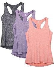 icyzone Damer sporttop yoga linne topp brottarrygg topp löpning fitness funktion tröja, 3-pack