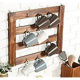 MyGift Rustic Wood Mug Rack, Wall-Mounted 12 Hook Kitchen Organizer, Brown