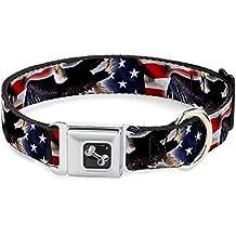 Buckle-Down DC-W30672-L Seatbelt Dog Collar, Large, Flying Eagle/American Flag