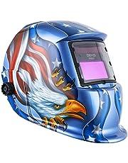 DEKO Welding Mask Solar Powered Auto Darkening Hood with Adjustable Shade Range 4/9-13 for Mig Tig Arc Welder Mask Shield Flaming Skull Design