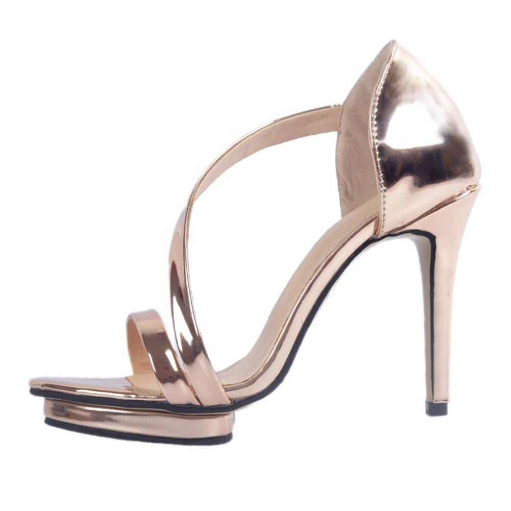 Kolnoo Damen Handgefertigte 10cm High-Heel mit Peep Platform Peep mit Toe Party Büro Mode Sandalen Gold 025a40