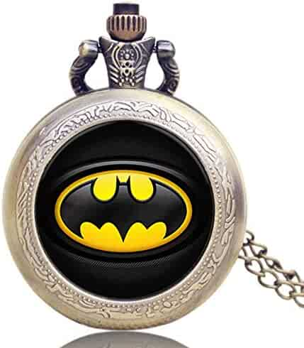 Men's Pocket Watch, Cool Classical Batman Pattern Design Pocket Watch, Chain Necklace Gift for Men Christmas Gift