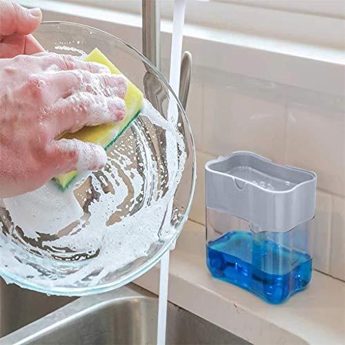 UNSKAM Soap Dispenser with Sponge Holder 2 in 1 Press Soap Dispenser Sponge Holder Sponge Brush Dish Scouring Scrubber Pads Dish Sponge for Kitchen Sink with Sponge