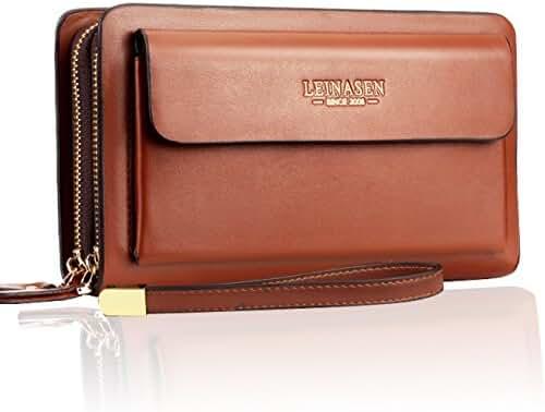 Sllybo Men Clutch Bag Business Handbag Wallet for Men Organizer Zipper Wristlet Bag
