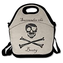 Surrender The Booty Funny Pirate Lunch Boxes Waterproof Picnic Shoulder Bags With Zipper And Adjustable Crossbody Strap Cool