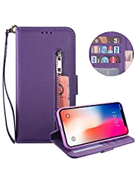 Moiky Soft PU Leather Wallet Case for iPhone XR,Purple Folio Flip Stand Case for iPhone XR,Multifunctional Zipper Magnetic Purse Cover Handbag Case with Card Holder and Wrist Strap
