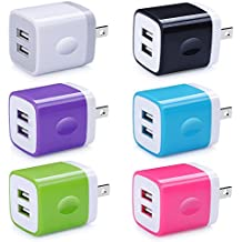 USB Wall Charger, Charger Adapter, Ailkin 6-Pack 2.1Amp Dual Port Quick Charger Plug Cube for iPhone X/8/7/6S/6S Plus/6 Plus/6, Samsung Galaxy S7/S6/S5 Edge, LG, HTC, Huawei, Moto, Kindle and More