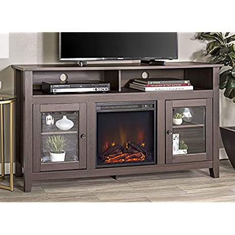 WE Furniture 58 Wood Highboy Style TV Stand Fireplace Console Espresso