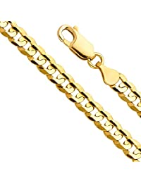 """14k Yellow Gold SOLID Men's 12mm Cuban Concave Curb Chain Bracelet with Lobster Claw Clasp - 8.5"""""""