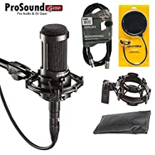 Audio-Technica AT2035 Large Diaphragm Studio Condenser Microphone + Shock Mount + Pop Filter + Mic Bag + XLR Cable