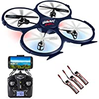 Beginner RC Quadcopter Drone With HD Camera and WiFi - 6 Axis Gyro for Stability, 360 Degree Flips and Stunts, and Nighttime LED - Smartphone App and VR Headset Compatible - UDI U818A