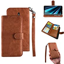 Sony Xperia XZ3 Wallet Case,Sony Xperia XZ3 Case, PU Flip Leatther 7 Cards Slot [Removable Card Holder ] / Cash Pocke Cover with Wrist Strap for Sony Xperia XZ3 (Brown)