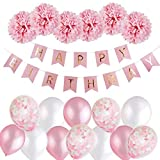 Birthday Decorations for Girls, Pink Happy Birthday Party Balloons with Banner / Paper Flowers / Confetti Filled Balloons / Latex Foil Balloons for Girl's Birthday Party, Baby Shower Registry (Pink)