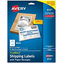 "Avery Shipping Labels w/ Paper Receipts and TrueBlock Technology for Inkjet Printers 5-1/16"" x 7-5/8"", Pack of 25 (8127)"