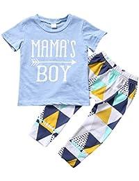Baby Boys Mama 's boy manga corta Camisetas Tops + geométrica Empalme Pantalones Trajes Set