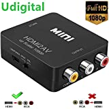 HDMI to RCA Converter, Udigital 1080P HDMI to AV 3RCA CVBs Composite Video Audio Converter Adapter Supporting PAL/NTSC with USB Charge Cable