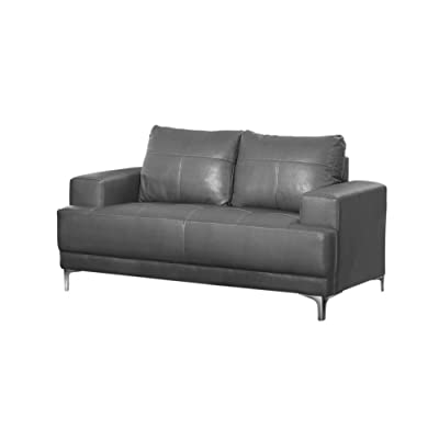 Monarch Bonded Leather Match Love Seat, Charcoal Grey