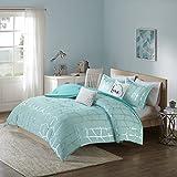 Intelligent Design Raina Comforter Set Twin/Twin XL Size - Aqua Silver, Geometric – 4 Piece Bed Sets – Ultra Soft Microfiber Teen Bedding for Girls Bedroom