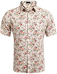 Men's Floral All Over Print Button Down Short Sleeve Shirt
