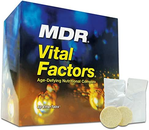 MDR Vital Factors Anti-Aging Dietary Supplement with Resveratrol Helps Support Brain Function, Immunity, Good Health, Firm Skin and Youthful Energy (40 Effervescent Tablets)