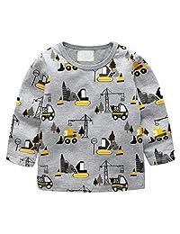 KONFA Cartoon Digger Print Long Sleeve T-Shirt Tops for Teen Kids Toddler Baby Girls Boys Pullover Spring Clothes