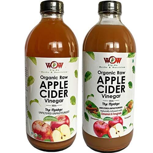 WOW ZIP – GO HERBS & NUTRITION Organic Apple Cider Vinegar (500 ml each), Pack of 2