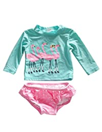 eKooBee Baby Little Girls Rashguard Set Long Sleeve Swan Swimwear Polka Dot