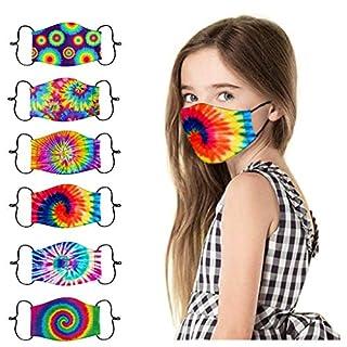 [US Stock]6pcs Kids Children Face Mask Tie Dye Printed Face Masks Washable Reusable Face Cotton Cloth Mask