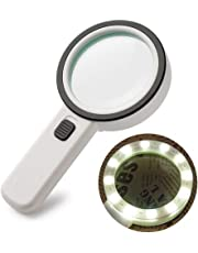 30X Magnifying Glass with LED Light - High Power Handheld Lighted Magnifier with Large Double Glass Lens Led Magnifiers