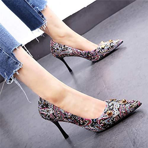 HOESCZS Damenschuhe einzelne Schuhe High Heels 2019 Neue Frühling Leopard Wind Metall dekorative Nacht Feld Spitze Stilett