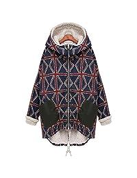 Newbestyle Women Winter Loose Thick Hooded Lattice Jacket Cotton Coat Plus Size