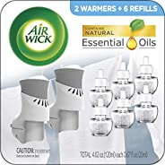 Air Wick Plug in Scented Oil Starter Kit, 2 Warmers + 6 Refills, Fresh Linen, Same Familiar Smell of Fresh Lau